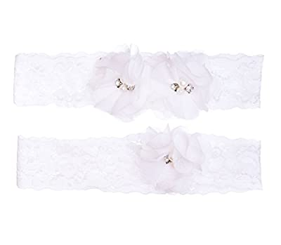 Wedding Stretch Lace Floral Garter Set -White With Flowers -2 pack