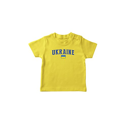 (nobrand Ukraine Bodysuit Infant New Born Country Flag Tee World Cup Pride (Yellow T-Shirt 3T))