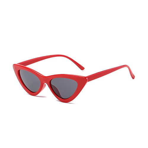 Vintage Style Sunglasses (Clout Goggles Cat Eye Sunglasses Vintage Mod Style Retro Kurt Cobain Sunglasses (Red | Black))