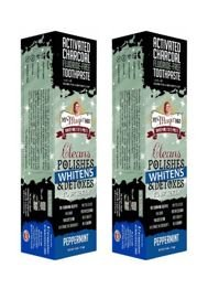 My Magic Mud Activated Charcoal Toothpaste for Whitening- Peppermint 4 oz (113 g) 2 pack