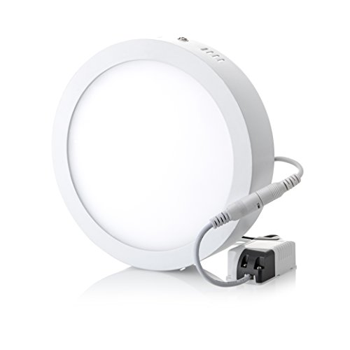 (Hyperikon 7 Inch LED Flush Mount Ceiling Light, Round, 15W (65W equivalent), 1100lm, 5000K (Crystal White Glow), 110v-240v, Non-Dimmable - (Pack of 4))