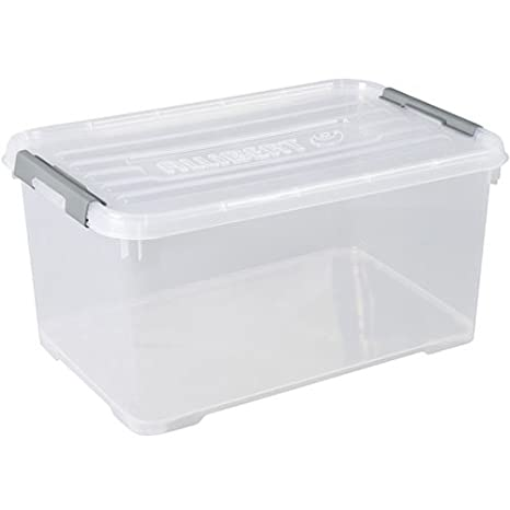 Allibert Caja Handy Plus de almacenaje Transparente con Tapa y Asas en Plata de 50 litros.: Amazon.es: Hogar