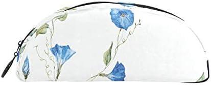 Blau Morning Glory Blumen Stift Tasche Veranstalter Federmäppchen Tasche Reißverschluss kleine Make up Tasche Schreibwaren Studenten Klasse Kinder junge Teen Mädchen Schule College Campus Geschenk