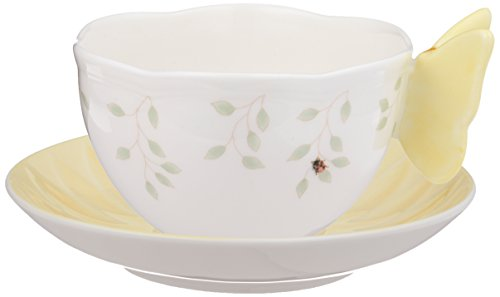 Lenox Butterfly Meadow Figural Cup and Saucer Set, Yellow (Pattern Plate Fig)