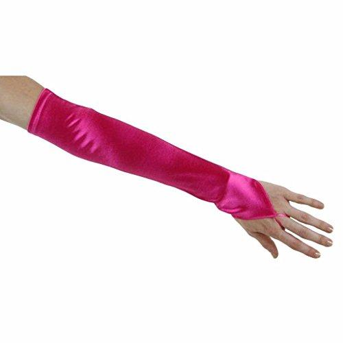 Elbow Length Satin Fingerless Gloves - Soft Serenade Elbow Length Fingerless Gloves, Hot Pink