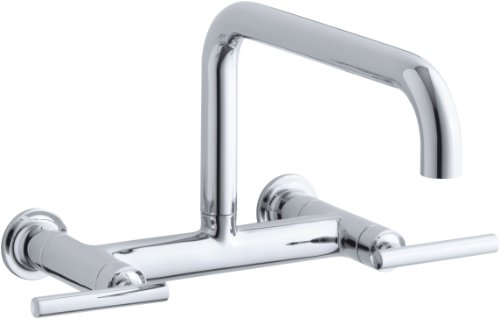 KOHLER K-7549-4-CP Purist Wall-Mount Bridge Faucet, Polished (Af Purist Deck)