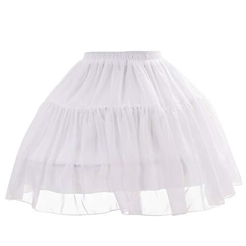 Women Girls 2 Hoops Petticoat Chiffon Short Petticoat Scalloped Lace Trim Lolita Cosplay Bridal Adjustable Crinoline Underskirt Bustle White