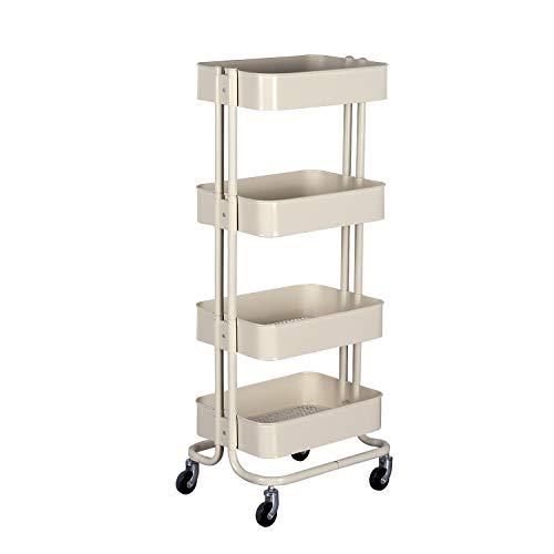 WONLINE 4-Tier Mental Rolling Storage Cart, Mobile Tier Storage Shelves Organizer Trolley Bathroom Book Art Cart on ()