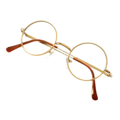 JOHN Lennon Vintage 60s Round Metal Frame Unisex Clear Lens Eye Glasses (Gold, - Style 1960s Glasses