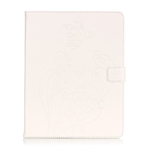 IPad 2 3 4 Case, Butterfly Flowers Embossed Case, Solid Color PU Leather Case Flip Stand Case with Cash Card Holders Detachable Case for IPad 2 3 4 Clear case (Color : White-IPad 234)