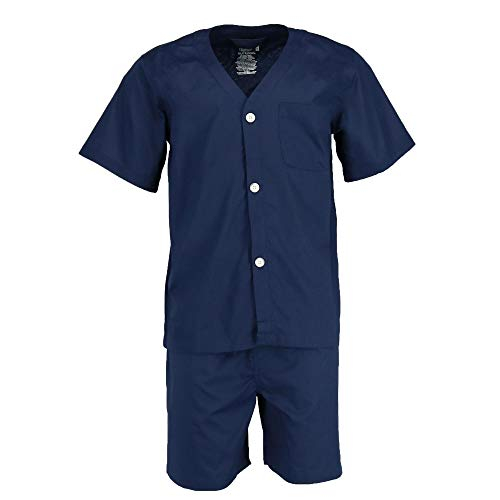 (Fruit of the Loom Men's Broadcloth Short Sleeve Pajama Set, Navy, X-Large)
