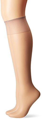 Taupe Sheer Hosiery - Hanes Silk Reflections Women's 2-Pack Knee High Sandalfoot, Soft Taupe, One Size