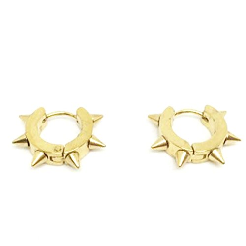 10k Gold Circle Hoop Earrings (Usstore 1Pair Women's Men Stainless Steel Hoop Spike Circle Huggie Studs Punk Cool Ear Stud Earrings Jewelry)