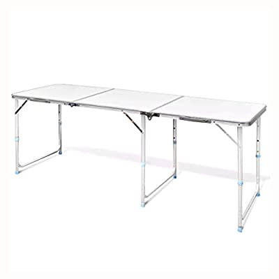 """K&A Company Camp Furniture, Foldable Camping Table Height Adjustable Aluminum 70.9""""x23.6"""""""