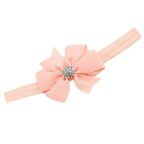 Baby Girls Headband Grosgrain Ribbon Hair Bows with Lotus Rhinestone Hairband JA01 (Peach) ()