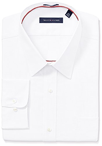 Tommy Hilfiger Men's Regular Fit Non Iron Solid Point Collar Dress Shirt, White 18.5