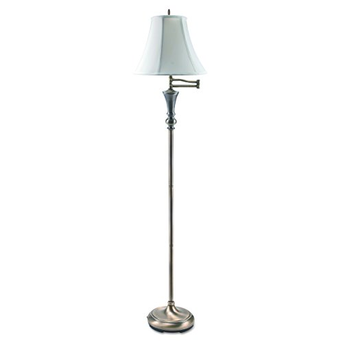 LEDU Antique Floor Lamp With Swing Arm Bell Shade, 60 Inch, Brass (L9004)