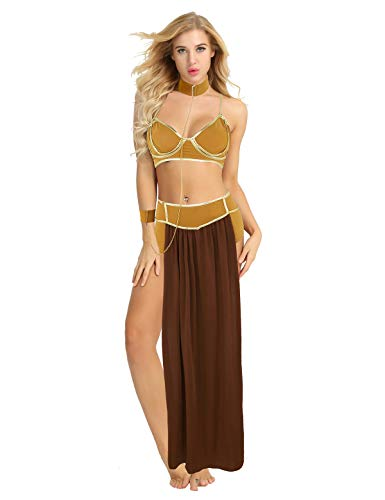 ACSUSS Women's Sexy Princess Leia Costume Slave Uniforms Halloween Adult Lingerie Set Coffee Medium