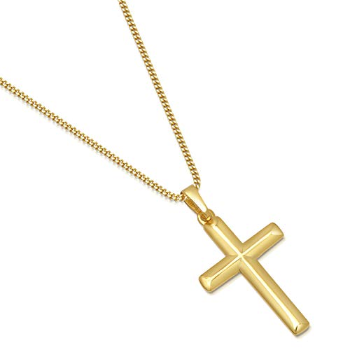 14K Gold Plated Sterling Silver Cross Pendant Italian Made Curb Chain Necklace - Choice of Sizes