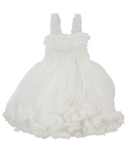 RuffleButts Little Girls Ruffled Princess Pettiskirt Dress - Ivory - 2T/3T