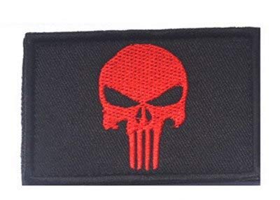 Sconosciuto Generic Punisher Skulls Glow in The Dark USA Army Morale Militare SWAT Patch Adesiva: Rosso