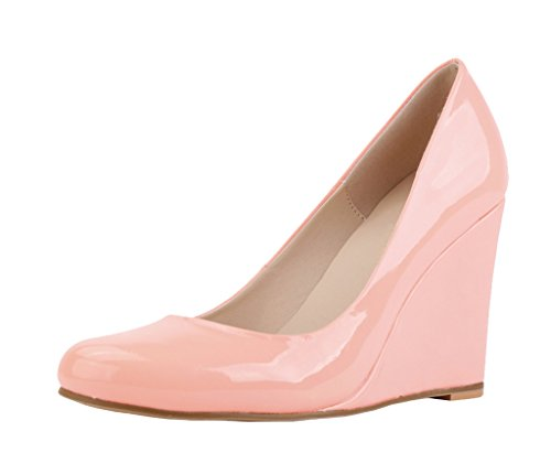 Women's Classic Round Toe High Heel Candy Color Wedge Pumps Shoes Pink Patent PU MvEpz4R