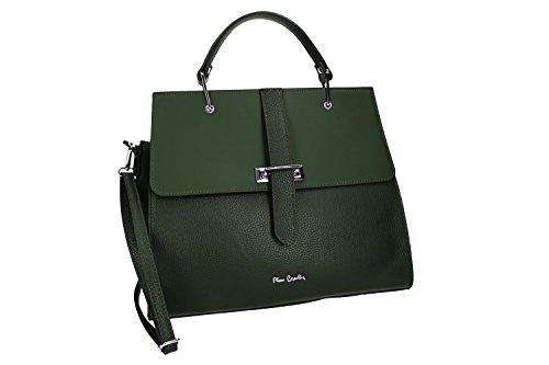 31ea6b39fc40e Tasche damen mit schultergurt PIERRE CARDIN grün leder Made in Italy VN865