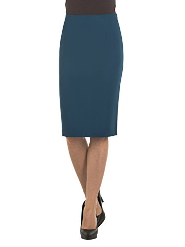 Velucci Womens High Waist Pencil Skirt - Knee High - Zipper - Back Slit, Teal-M by Velucci
