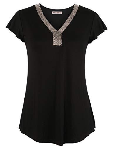 MANER Women's Beaded V Neck Tunic Tops Short Sleeve Blouse Casual Shirt (Black, M/US 8-10)