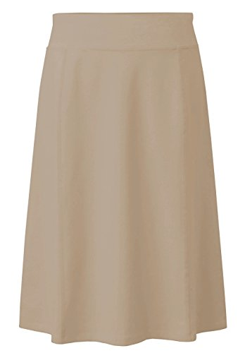 Baby'O Girl's (Children's) Stretch Cotton Knit Panel Below The Knee A-Line Skirt, Tan Khaki, Medium (Skirt Stretch Tan)