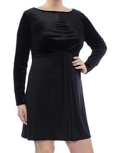 Michael Michael Kors Petite Velvet-Bodice A-Line Twist Dress (Black, PL)
