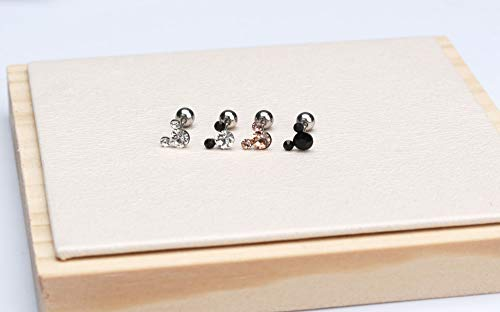 Michey mouse cartilage studs Earrings Tiny CZ Screw on back ball 20G Surgical steel with safety back earrings