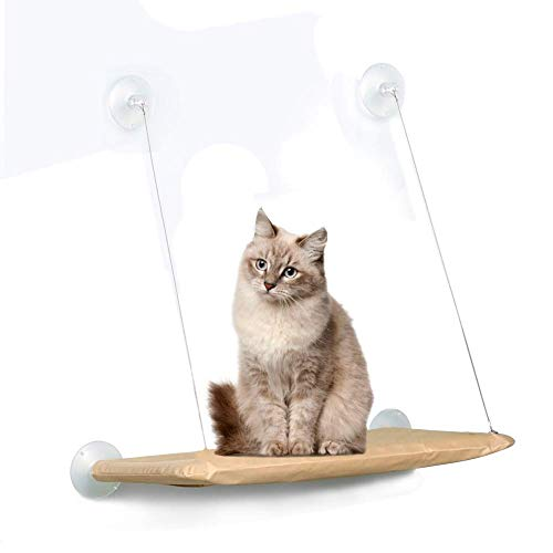 Cat Window Perch Cat Hammock Bed Window Seat with Durable Heavy Duty Suction Cups Cat Bed Holdsup to 50Lbs (Extra 2 Suction Cups) Pet Resting Seat Mount onto Window for Space Saving Sunba (Beige)