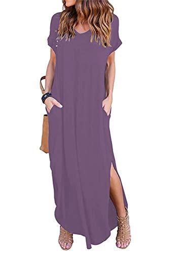 Women's Summer Maxi Dress Casual Loose Pockets Long Dress Short Sleeve Split Mauve (Dress Women Size 14)
