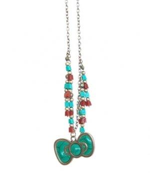 SANRIO Necklace - Hello Kitty - New Southwestern Turquoise Bow sann0076
