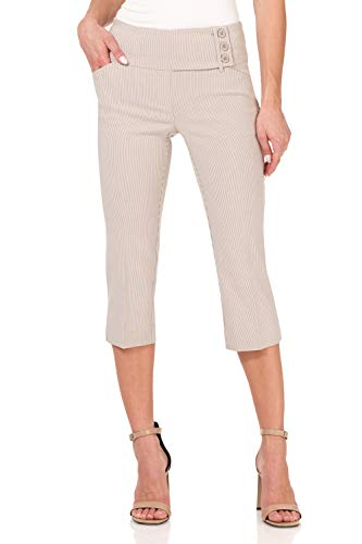 Rekucci Women's Ease into Comfort Wide Waist Capri with Back Lacing Detail (18,Khaki/White Stripe)