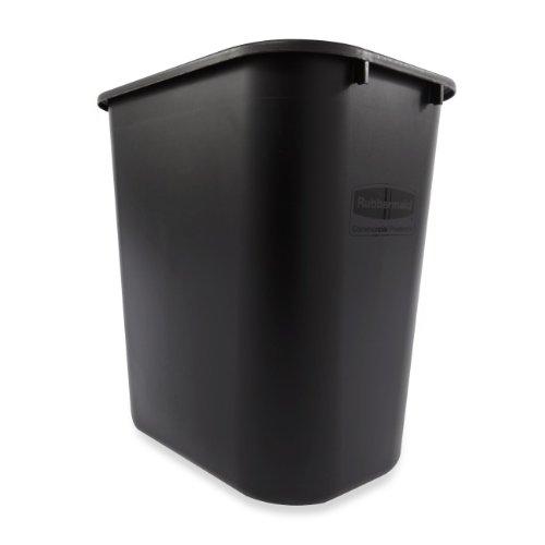 Rubbermaid Commercial FG295600BLA Plastic Deskside Wastebasket, 28-1/8-quart, Black