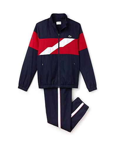 - Lacoste Men's Tracksuit with Zip and Stripe On Chest Blue in Size 4 / M