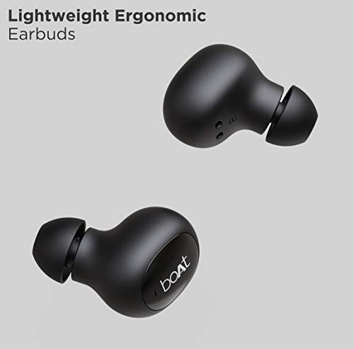 boAt Airdopes 121v2 TWS Earbuds with Bluetooth V5.0, Immersive Audio, Up to 14H Total Playback, Instant Voice Assistant, Easy Access Controls with Mic and Dual Tone Ergonomic Design(Active Black)