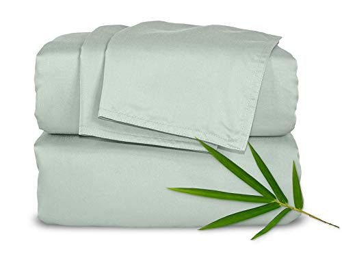 Pure Bamboo Sheets Full 4pc Bed Sheet Set - 100% Bamboo Luxuriously Soft Bed Sheets (Full, Sea Glass)
