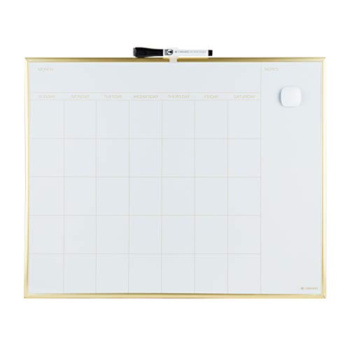 U Brands Magnetic Monthly Calendar Dry Erase Board, 20 x 16 Inches, Gold Aluminum Frame (Board Erase Calendar Monthly)