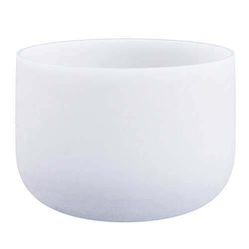 - Ohm Store Root Chakra Crystal Frosted Quartz Singing Bowl With Mallet And Ring, 8 IN