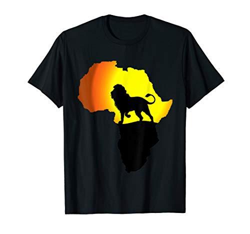 Africa T-Shirt Lion Map Dad South Animals Big Five Safari (Map T-shirt Africa)