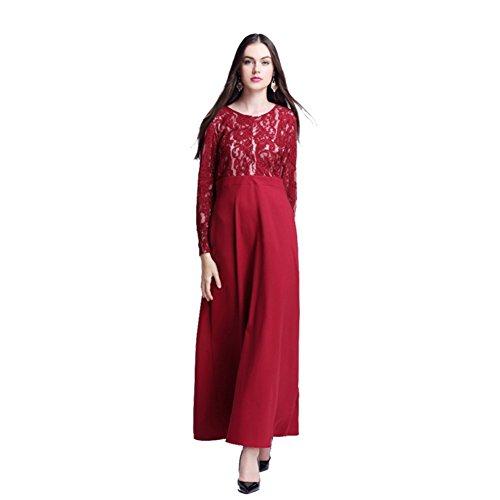 Musulmani Islamico Lunghe Weixinbuy Maxi Delle Maniche Vestiti Eleganti Donne Rossi Di Abaya Pizzo WUOZdn