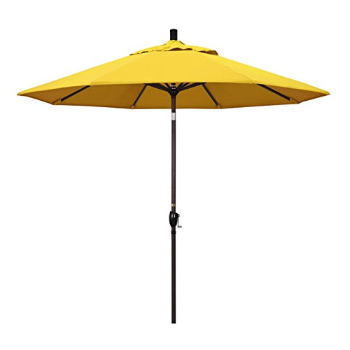 - California Umbrella 9' Round Aluminum Market Umbrella, Crank Lift, Push Button Tilt, Bronze Pole, Lemon Olefin