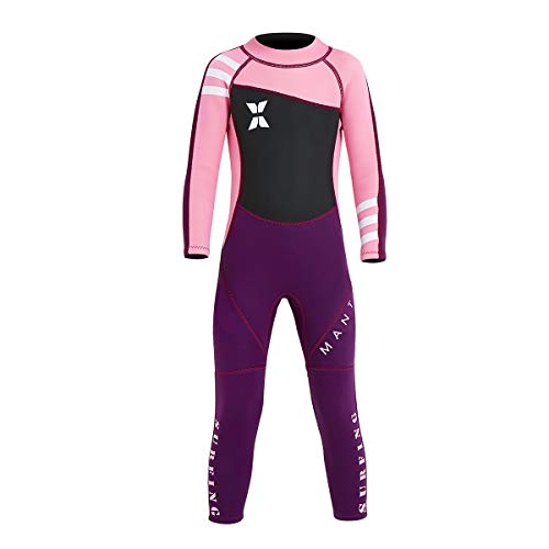 """NATYFLY Kids Wetsuit,2.5mm Neoprene Thermal Swimsuit for Boys and Girls (New Pink-Girls Wetsuit-2.5mm, New M-for Height 37""""-42"""")"""