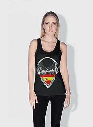 Creo Spain Skull Tanks Tops For Women - M, Black