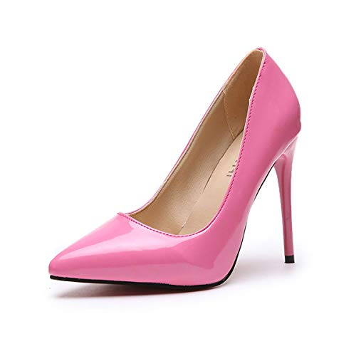 Meiliwanju Women Fashion Pointed Toe High Heel Pumps Sexy Slip On Stiletto Dress Shoes Wedding Party Basic Shoes (Pink, 8.5)
