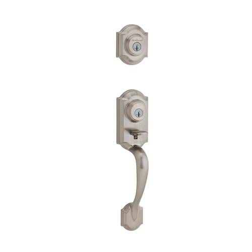 Kwikset 554MNH SMT Montara Two-Point Locking Double Cylinder Handleset with Smar, Satin Nickel Exterior