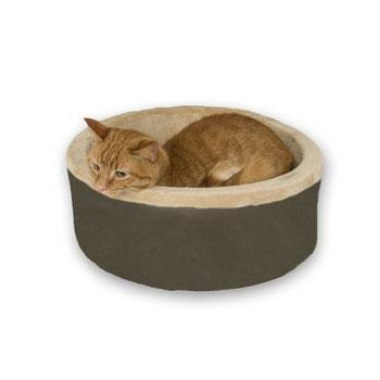 Thermo Kitty Heated Cat Bed - Large/Mocha (Kitty Thermo Cat Heated)